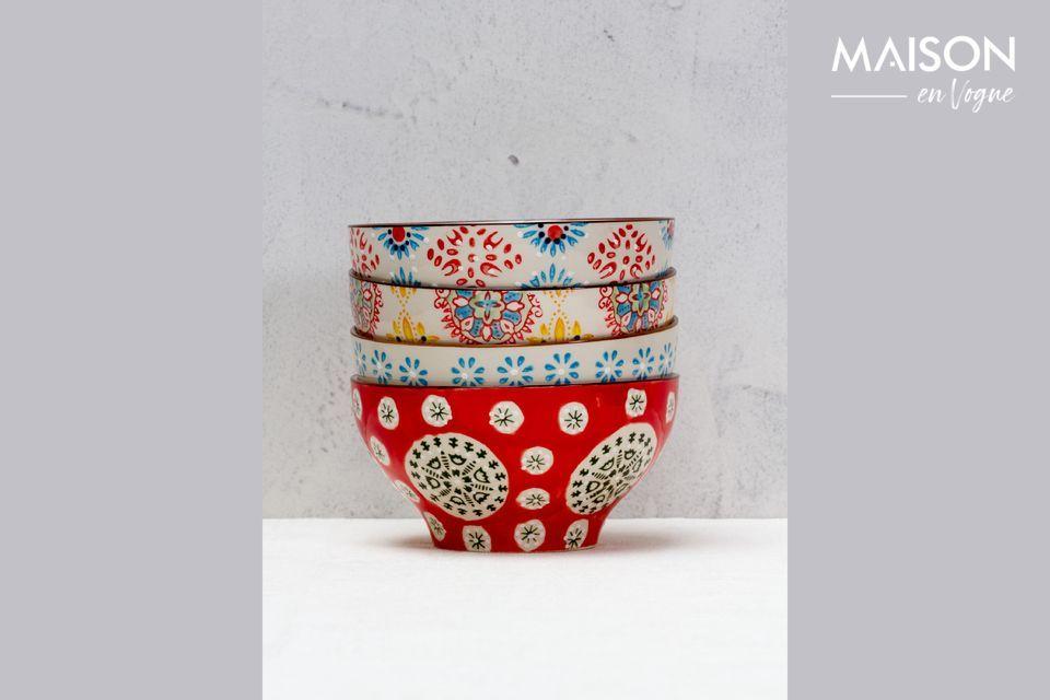 4 Ciotole in ceramica boema Chehoma