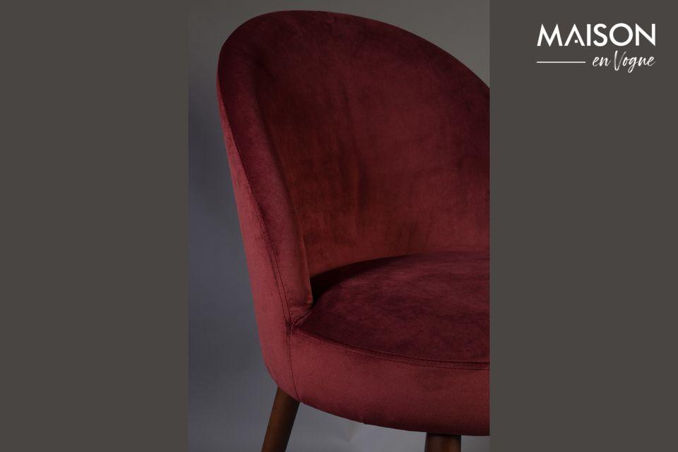 Barbara sedia in velluto rosso - 5