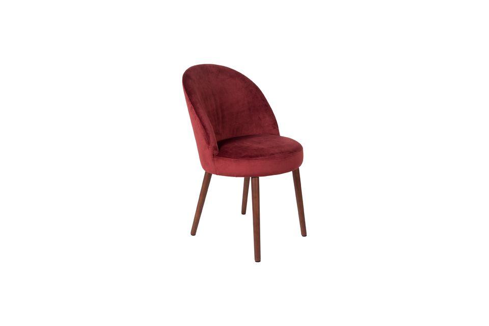 Barbara sedia in velluto rosso - 6