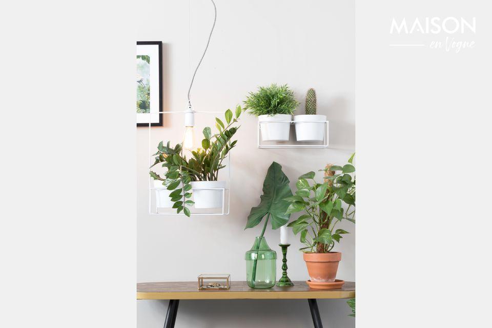 Una lampada purissima in ferro laccato bianco che termina in una sorta di fioriera dove sono