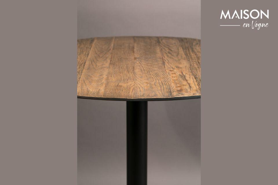 Il tavolo rotondo Bistro Braza in marrone mostra un sottile contrasto tra la struttura in acciaio al
