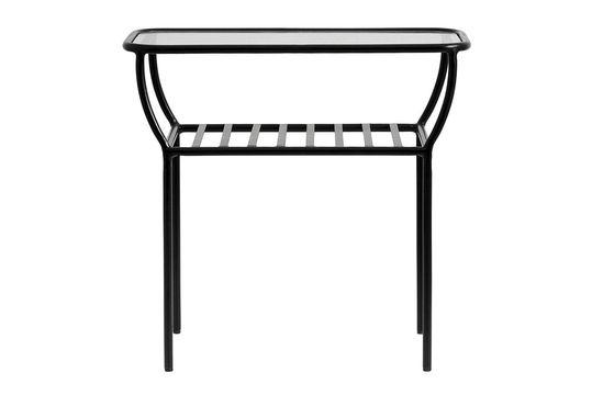 Chic tavolino nero in ferro e vetro