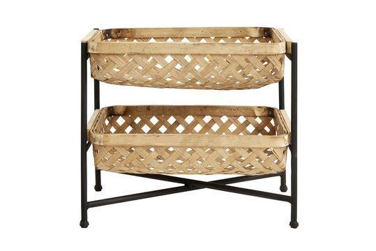 Curbigny Supporto con cestini e Bamboo e ferro laccato nero