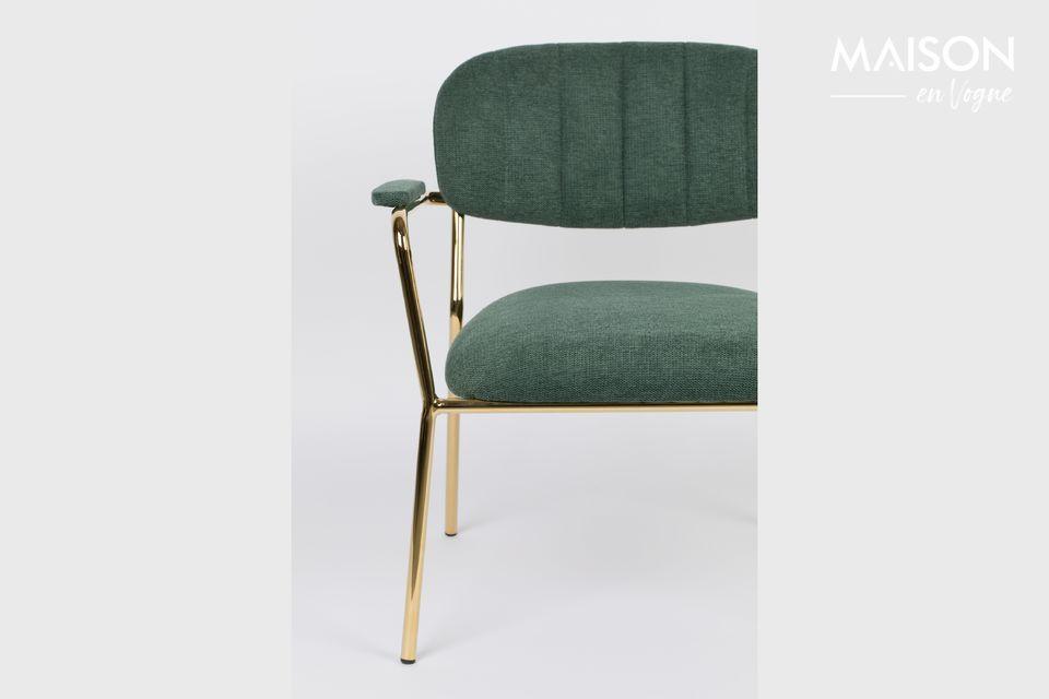 Sedia lounge Jolien colore oro e verde scuro