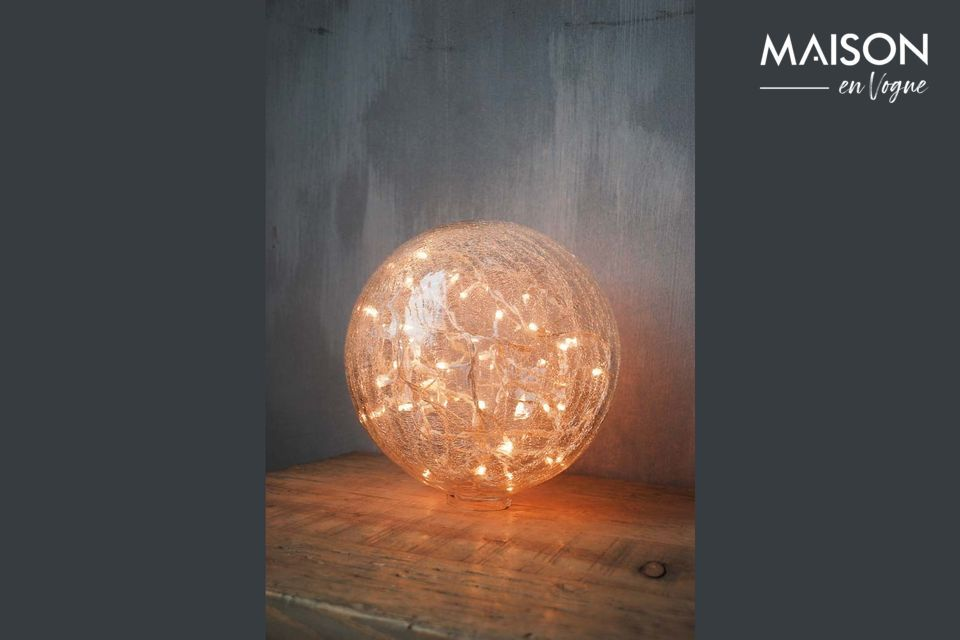 Lampada Da Tavolo 25 Cm Sfera Di Vetro Trasparente Incrinata Chehoma 25cm
