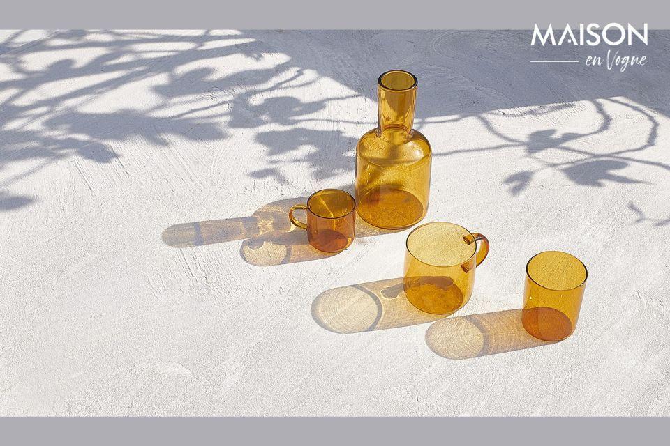 Duo di vetro borosilicato color ambra