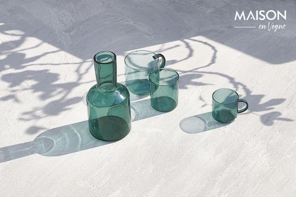 Set di 4 tazze di vetro blu alzavola