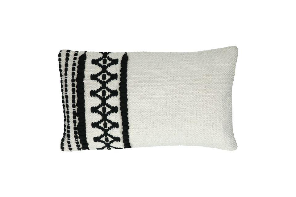 Cuscino rettangolare in cotone bianco e nero