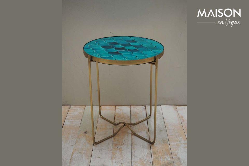 Séguret Tavolino a scaglie in ceramica blu
