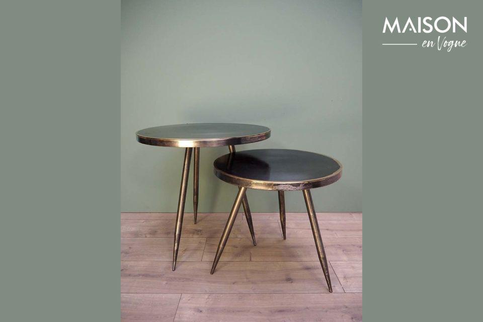 Serie di 2 Flaxieu tavolini in metallo spazzolato Chehoma