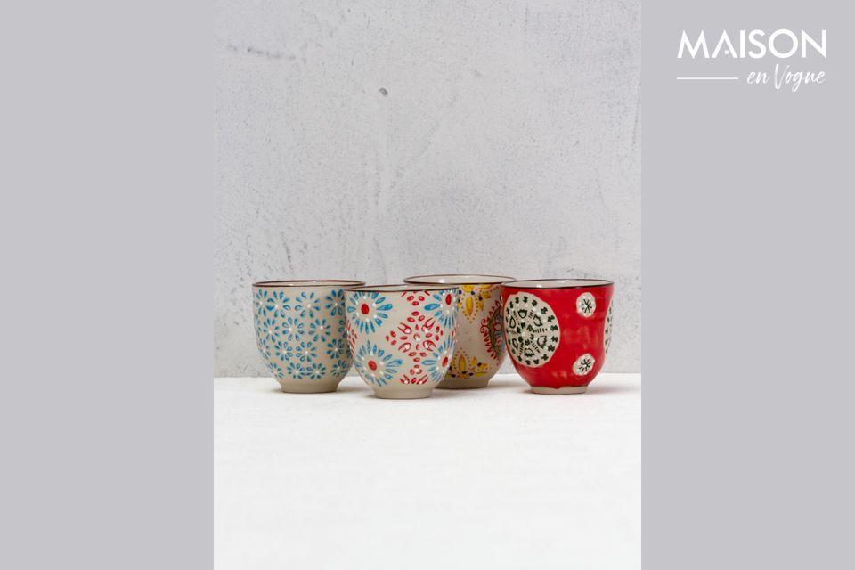 Serie di 4 Bohemian tazze per espresso Chehoma