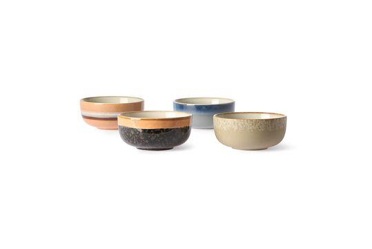 Serie di 4 ciotole in ceramica anni '70 di medie dimensioni
