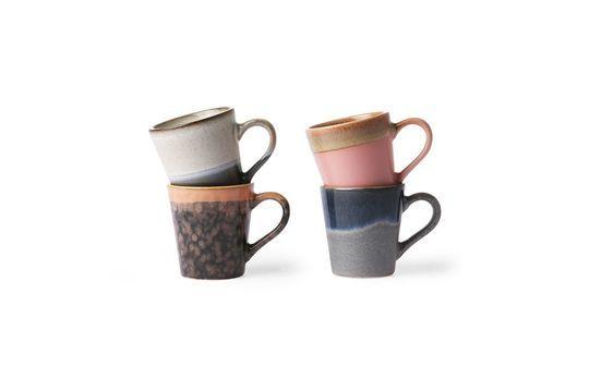 Serie di 4 tazze da caffè espresso in ceramica anni '70
