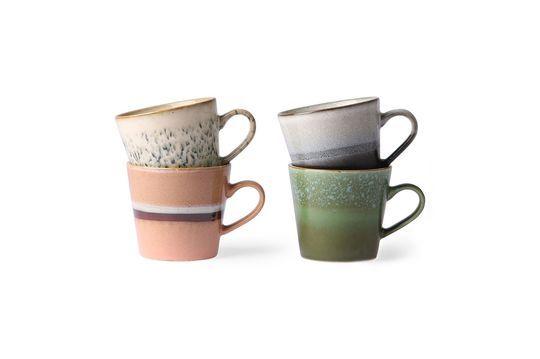 Serie di 4 tazze per cappuccino in ceramica anni '70