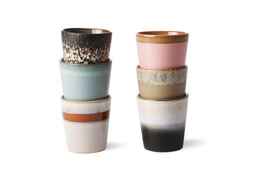 Serie di 6 tazze in ceramica anni '70