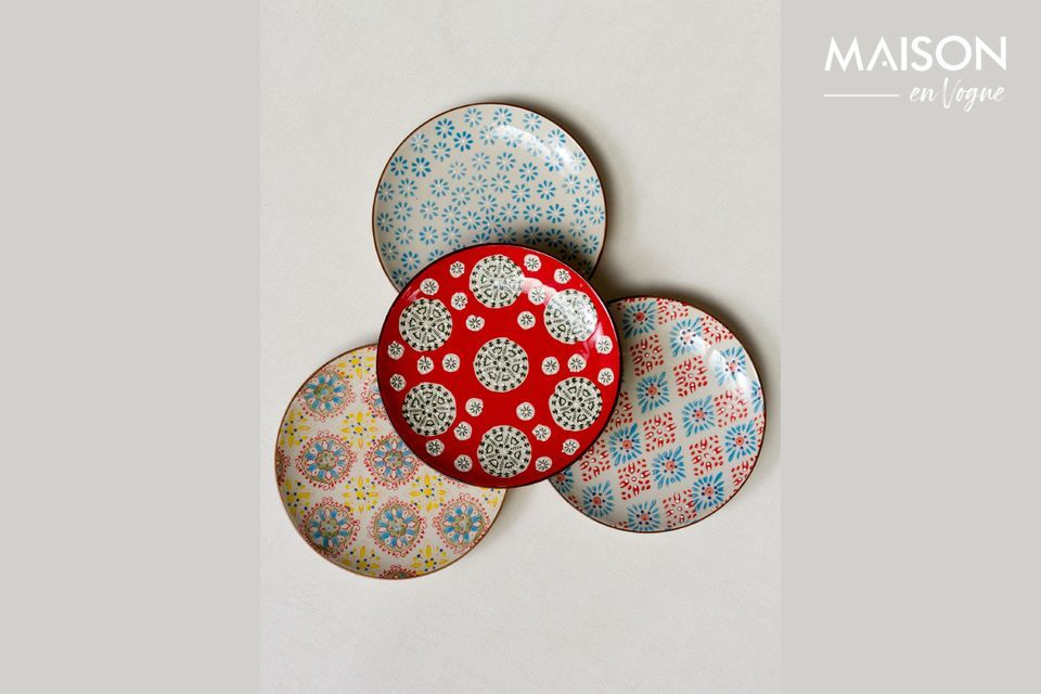 Set di 4 Bohemian piatti in ceramica Chehoma