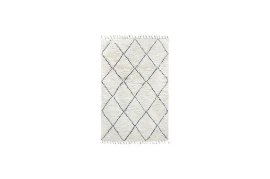 Tappeto berbero Larra grande in lana bianca e nera Larra