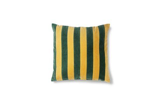 Voulon Cuscino in velluto a righe verdi e senape