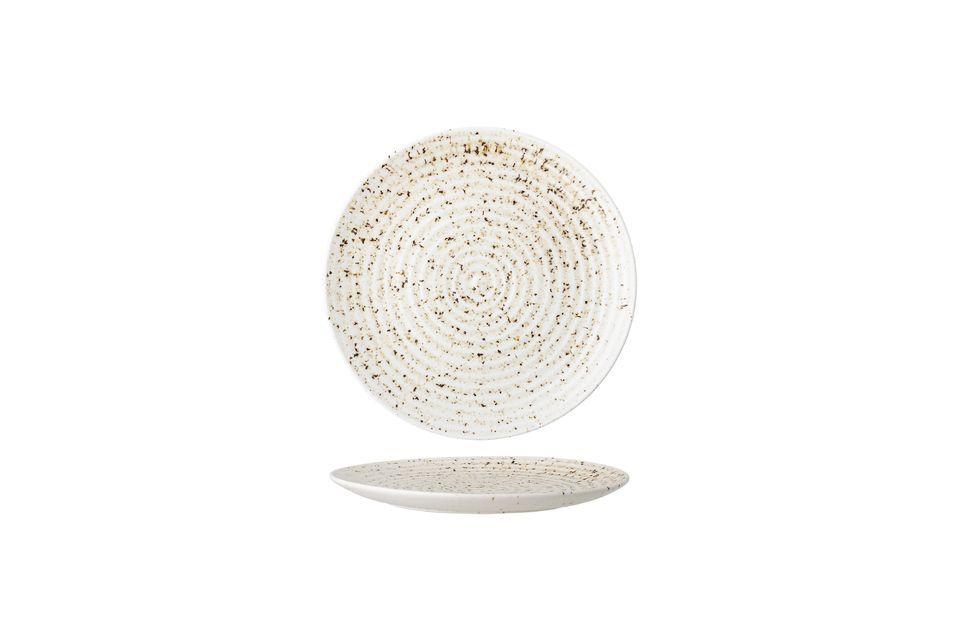 Questo piatto in gres rende la scelta dei colori e dei dettagli sobri per sublimare